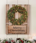 LED Wreath with Merry Christmas Sign