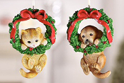 Dog or Cat with Wreath Ornament