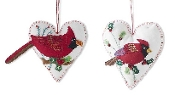 White Cardinal Heart Ornaments
