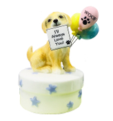 Golden Retriever and Happpy Birthday Balloons Wind-Up Music Box