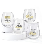 Cheers Sayings Stemless Wine Glasses, Set of 4