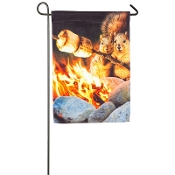 Campfire Couple Garden Satin Flag