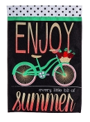 Summer Bicycle Garden Burlap Flag
