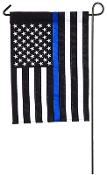 Evergreen Thin Blue Line Police Applique Garden Flag