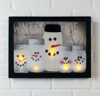 Winter Time Snowmen Mason Jars LED Lighted Canvas