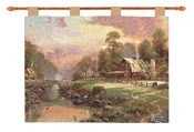 Thomas Kinkade Sunset at Barn Tapestry