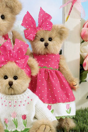 "The Bearington Bear ""Tiny Tulip"" in pink dress and bow."